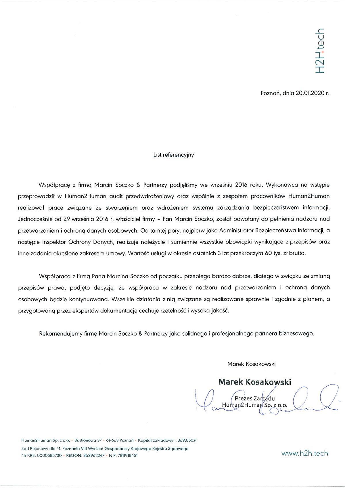 human2human referencje Soczko & Partnerzy